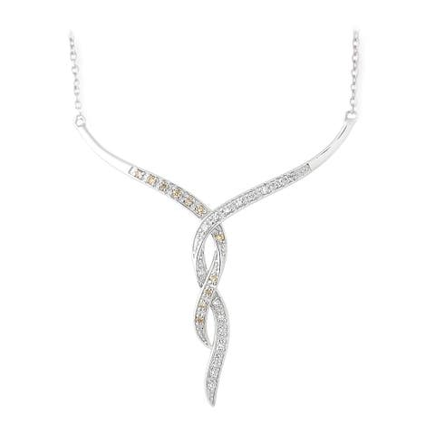 Icz Stonez Silver 3/8ct TGW Champagne and White Cubic Zirconia Necklace