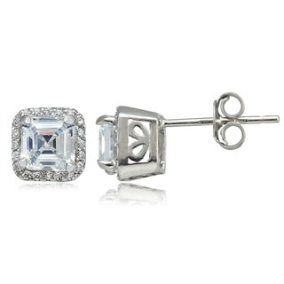 Icz Stonez Sterling Silver 4 5/8ct TGW Asscher-cut Cubic Zirconia Square Earrings