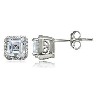Icz Stonez Sterling Silver 4 5/8ct TGW Asscher-cut Cubic Zirconia Square Earrings
