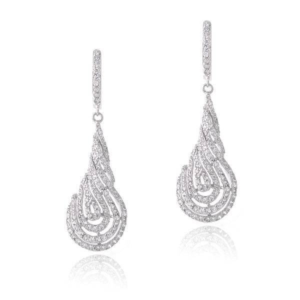 Icz Stonez Rhodium-plated Cubic Zirconia Twist Dangle Earrings