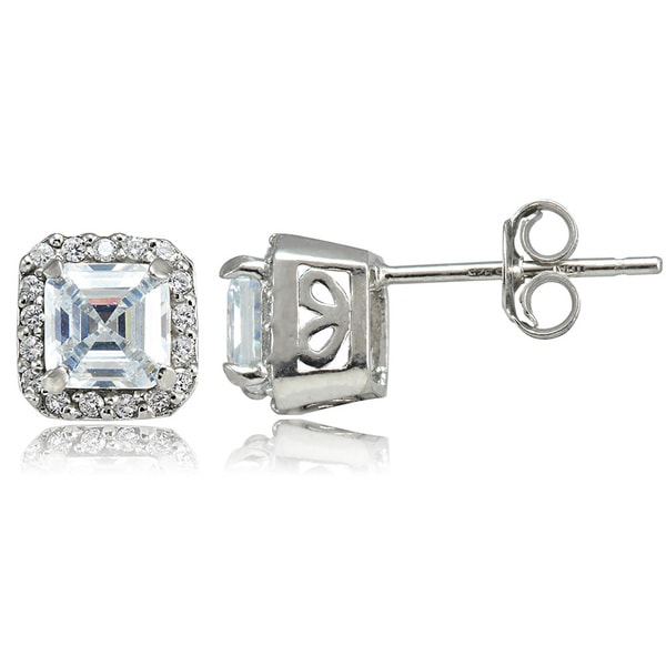 Icz Stonez Sterling Silver 2 7/8ct TGW Asscher-cut Cubic Zirconia Square Earrings