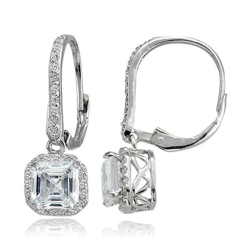 Icz Stonez Sterling Silver 4 7/8ct TGW Asscher-cut Cubic Zirconia Square Earrings