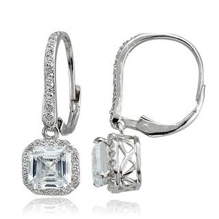 Icz Stonez Sterling Silver 4 7/8ct TGW Asscher-cut Cubic Zirconia Square Earrings