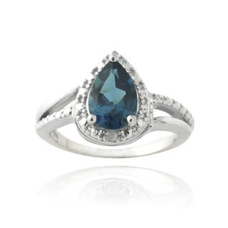 Glitzy Rocks Silver 1 1/2ct TGW London Blue Topaz and Diamond Ring