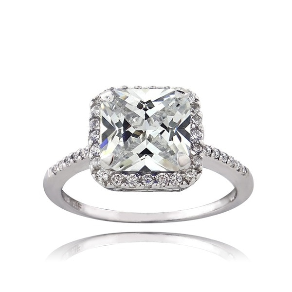 Icz Stonez Sterling Silver 4 1/4ct TGW Cubic Zirconia Engagement-style Ring
