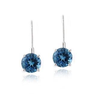 Glitzy Rocks Sterling Silver 7 1/2ct TGW London Blue Topaz Earrings