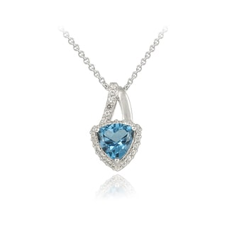 Glitzy Rocks Silver 2 5/8ct TGW London Blue and White Topaz Necklace