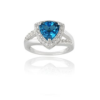 Glitzy Rocks Sterling Silver 2 3/4ct TGW London Blue and White Topaz Ring