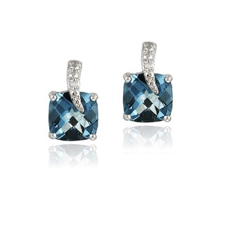 Glitzy Rocks Silver 6 3/4ct TGW London Blue Topaz and Diamond Earrings