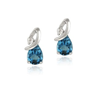 Glitzy Rocks Silver 4 3/4ct TGW London Blue and White Topaz Earrings