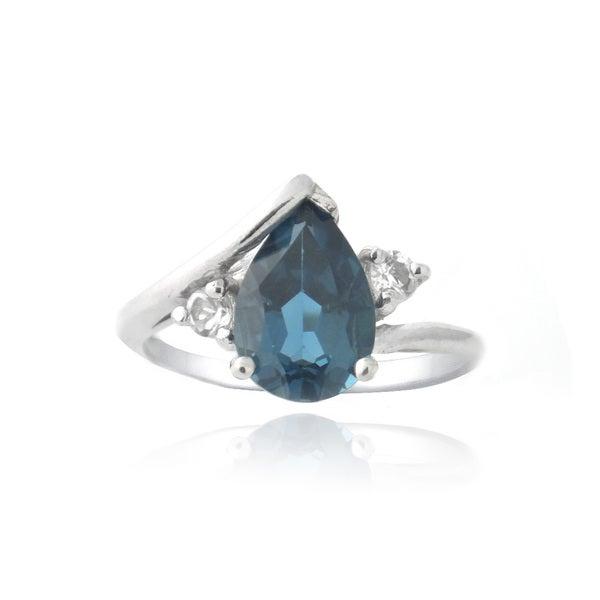 Glitzy Rocks Sterling Silver 1 5/8ct TGW London Blue and White Topaz Ring
