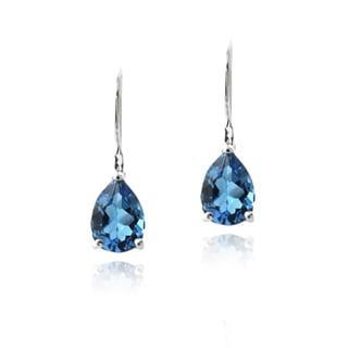 Glitzy Rocks Silver London Blue Topaz Teardrop Leverback Earrings