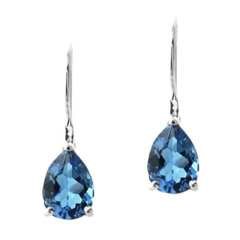 Glitzy Rocks Silver London Blue Topaz Teardrop Leverback Earrings