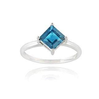 Glitzy Rocks Sterling Silver 1 1/3ct TGW London Blue Topaz Solitaire Ring