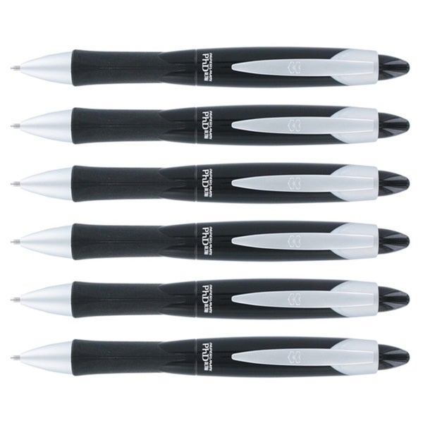Papermate PhD Ultra Black Retractable Medium Point Ball Point Pens (Pack of 6)