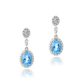 Glitzy Rocks Silver 3ct TGW Swiss Blue Topaz and Diamond Earrings