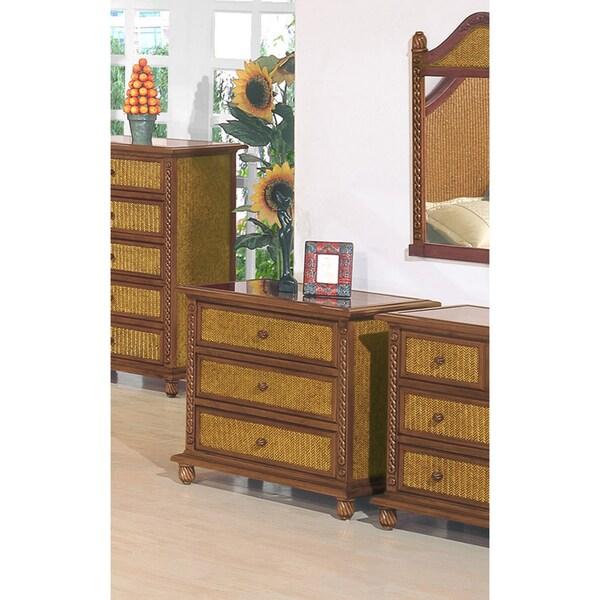 Nigel 3-drawer Wicker/ Wood Chest