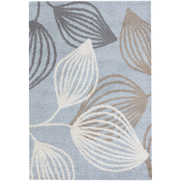 Moonwalk Spindle Leaf Blue Area Rug (7'10 x 10'10)