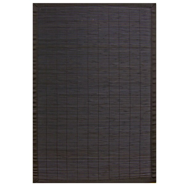 Midnight Rayon from Bamboo Rug with Black Border (6' x 9') - 6' x 9'