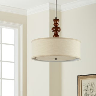 I Love Living Schoolhouse Turned Medium Walnut 4-light Pendant