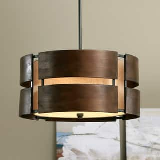Schoolhouse Curved Wood 3-light Medium Walnut Pendant