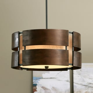 schoolhouse curved wood 3light medium walnut pendant