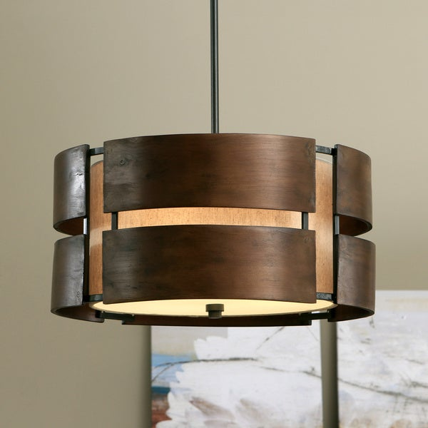 Wood Lighting Fixtures: Shop Schoolhouse Curved Wood 3-light Medium Walnut Pendant