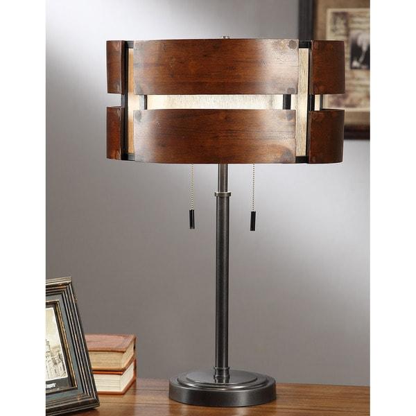 Schoolhouse Curved Wood 2-light Medium Walnut Stain Table Lamp