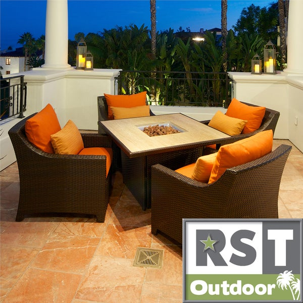 RST Tikka 5-piece Fire Table Seating Set Patio Furniture