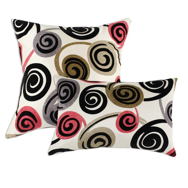 Rolo Ebony Off-white Decorative Throw Pillows (Set of 2)