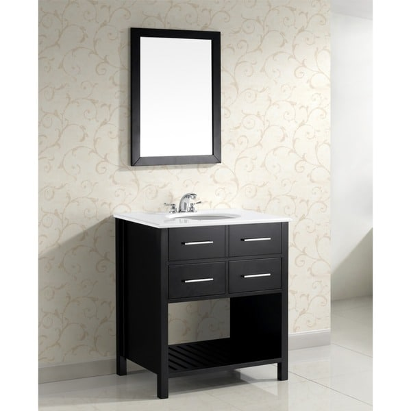 WYNDENHALL Manhattan 30-inch Black and Ceramic Contemporary Bathroom Vanity