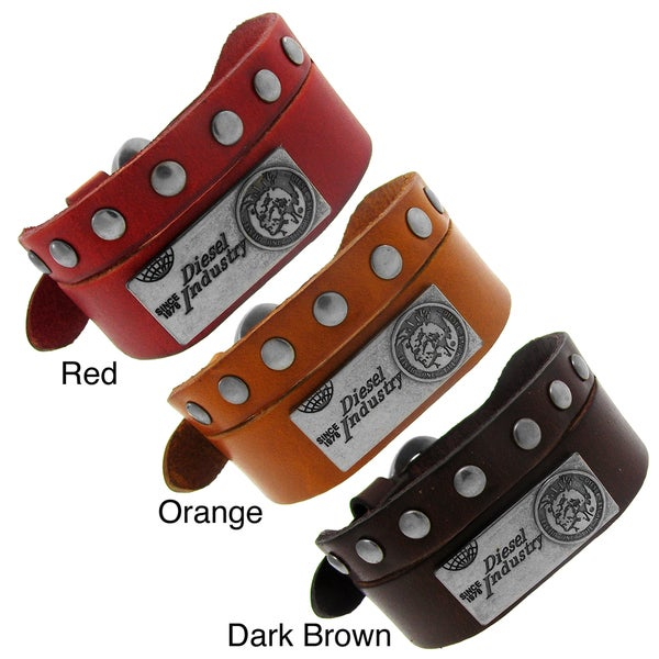 Silvertone and Colored Leather 'Diesel Industry' Bracelet