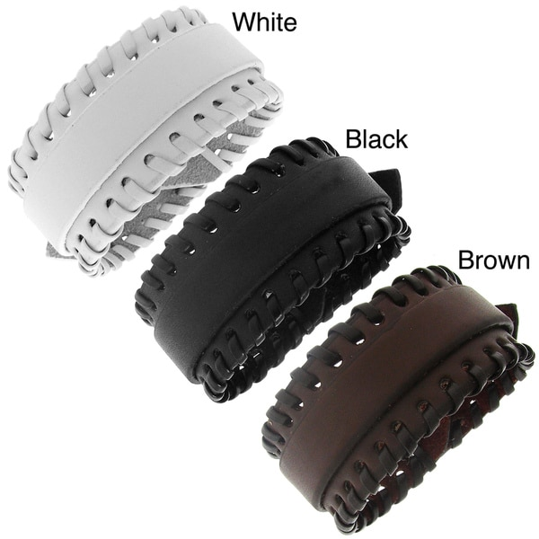 Leather Stitched Accent Adjustable Bracelet. Opens flyout.