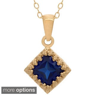 Gioelli Tiara Collection Goldplated Silver 6mm Square Gemstone Crown Necklace