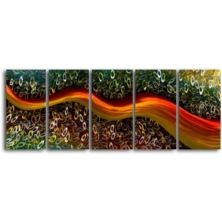 'Satin riverlet through O's' 5-piece Handmade Metal Wall Art Set