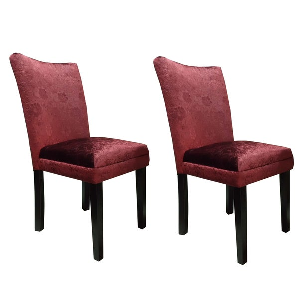 Classic Parson Red Damask Fabric Dining Chairs (Set of 2)
