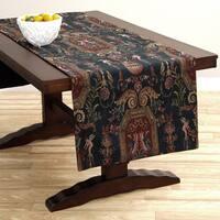 Corona Decor Extra Wide Italian Woven 95 x 26-inch Blue Ornate Table Runner