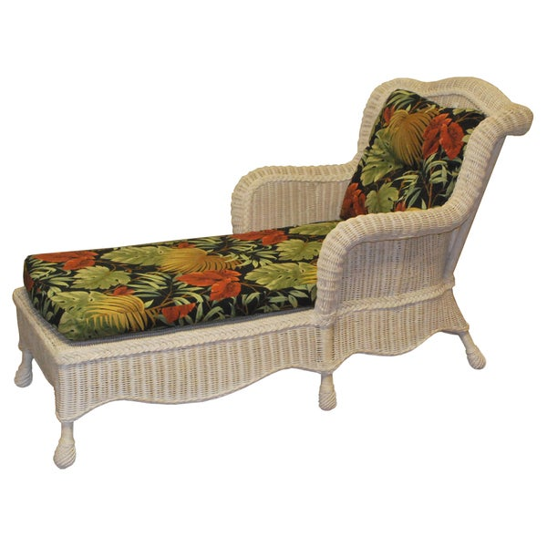 Shop Lyla Hand Woven White Wicker Floral Cushion Chaise