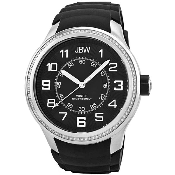 JBW Men's 'Vostok' Diamond-accented Black Dial Watch
