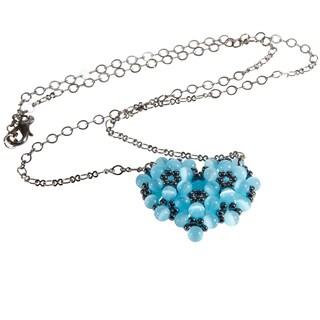 Gunmetal Chain Blue Heart Cat's Eye Bead Necklace
