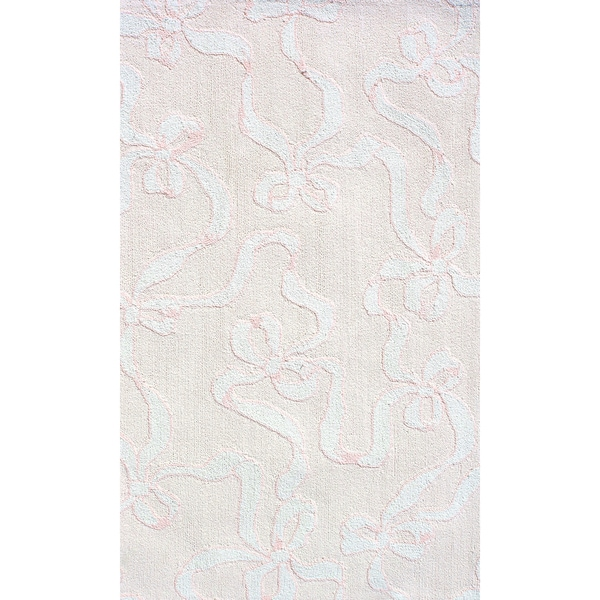 Manam Bow Pink And White Rug