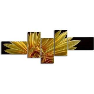 'Mostly a golden sunflower' 5-piece Handmade Metal Wall Art Set