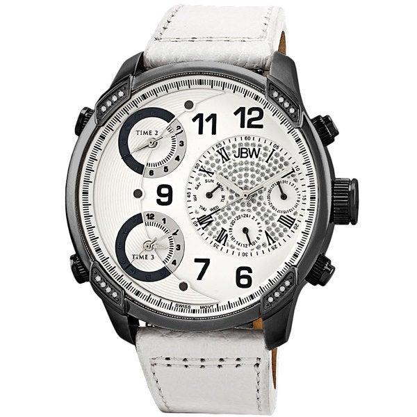 JBW Men's 'G4' Multi Time Zone White Strap Lifestyle Diamond Watch