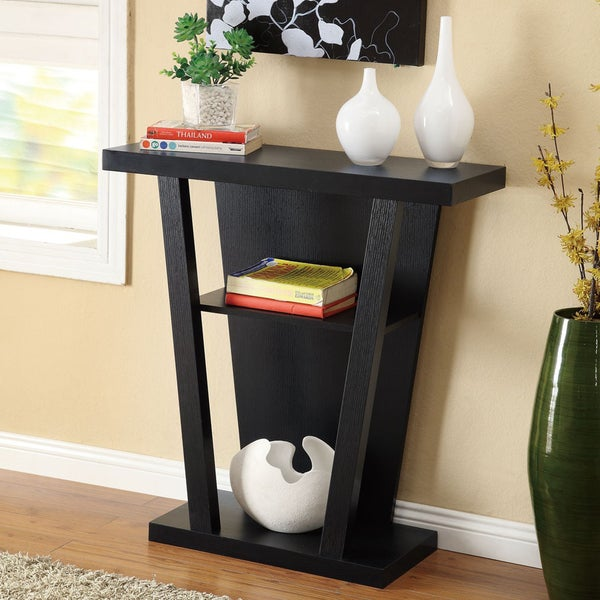 Overstock Foyer Furniture : Shop black finish console sofa entry table free shipping