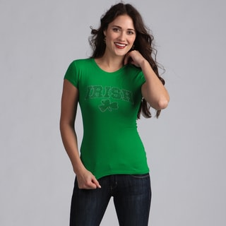 Women's Rhinestone-Studded Green Irish Shamrock T-shirt
