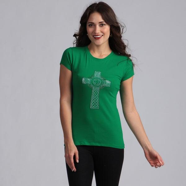 Women's Green Celtic Cross T-shirt
