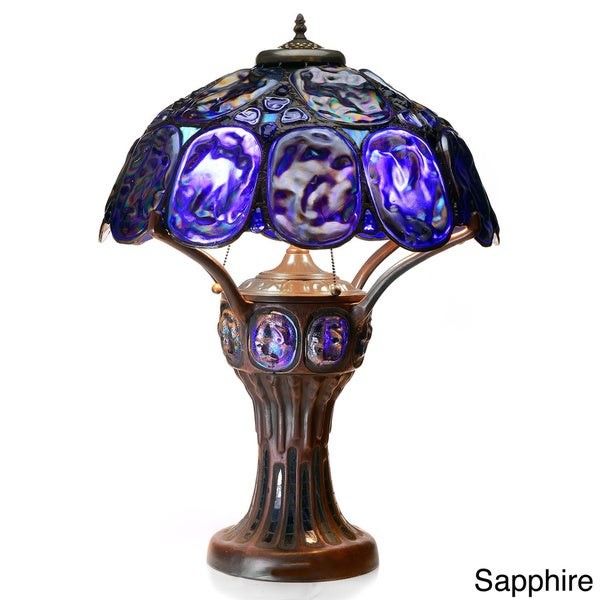 Tiffany Style Turtleback Table Lamp With Lighted Base   Free Shipping Today    Overstock.com   15133621