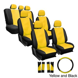 Oxgord Synthetic Faux Leather 23-piece Truck and Van Seat Covers (Option: Yellow/Black)