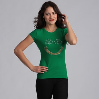 Women's Green 'St. Patrick's Day Smiley' T-shirt