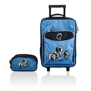Obersee Kids Blue Motorcycle 2-piece Carry On Upright and Toiletry Bag Set